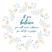 Bible Quote, Verbs With Wreath Design, Vector Illustration