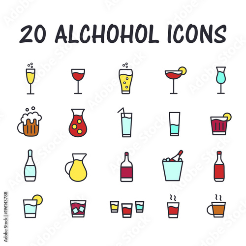Set of alcohol icons for web or mobile app  Cartoon bar icons  Thin
