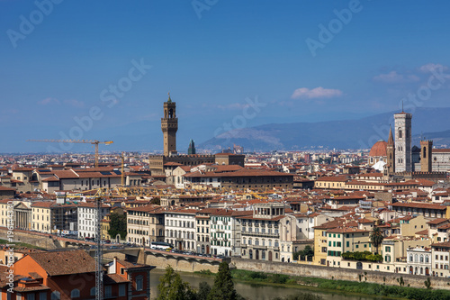 Fototapety, obrazy: Duomo Santa Maria Del Fiore and Bargello in the morning from Piazzale Michelangelo in Florence,