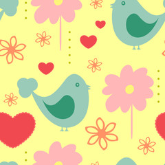Cute seamless pattern with abstract birds, flowers and hearts. Drawn by hand. Endless print for children.