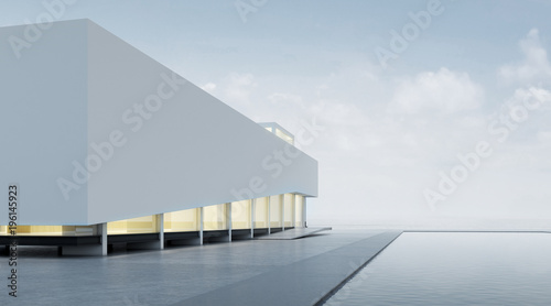 Fotografia 3D rendering of modern architecture with warm interior lighting and minimal pool on mountain background,Concept of design architectural
