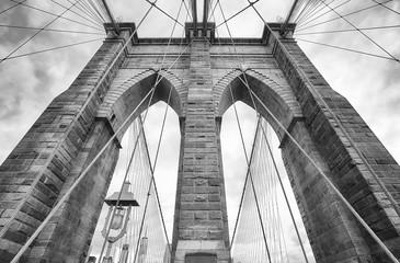 Looking up at the Brooklyn Bridge, New York City, USA.