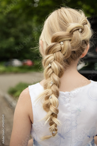 Fotografia, Obraz  blondes Mädchen mit Zopf