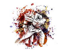 Vector Color Illustration Of Judo Fighters