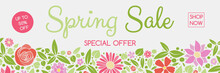 Concept Of A Header With Colorful Flowers For Spring Sale. Vector.