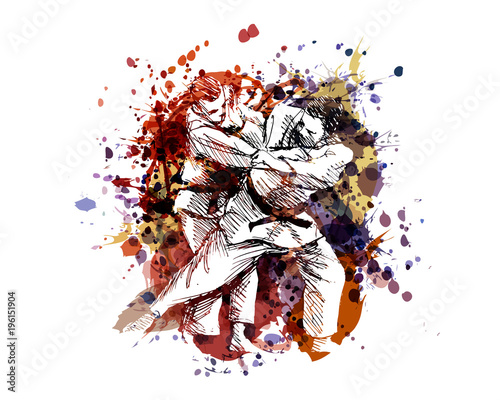 Vector color illustration of judo fighters Wall mural