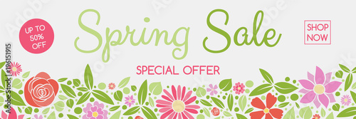 Fototapeta Concept of a header with colorful flowers for Spring Sale. Vector. obraz