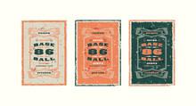 Set Of Baseball Card Design In Vintage Style