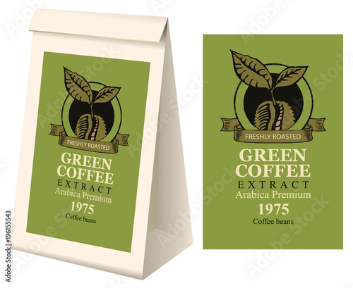 Paper Packaging With Label For Green Coffee Extract Vector Label