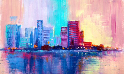Abstract oil painting citys...