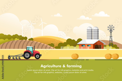 Fototapeta Agriculture and Farming. Agribusiness. Rural landscape. Design elements for info graphic, websites and print media. Vector illustration. obraz