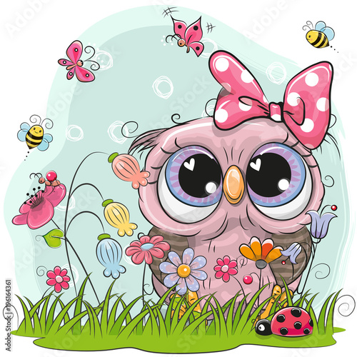 cute-owl-with-flowers-and-butterflies