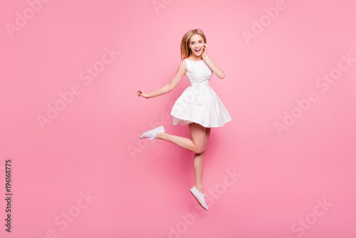 Fotografija  Lovely elegant dancer holiday spring summer celebrate rest relax goal achievement hairstyle trendy stylish amazed people concept