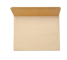 Mockup Brown Craft Open Envelope Isolated Clipping Mask On White Background With Path, Top View