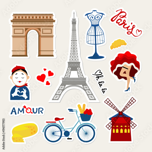 Fashion france patch badges with paris tower, mime, dancer, france cheese, tower, bicycle, paris travel and other Wallpaper Mural