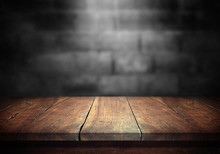 Old Wood Table With Blurred Co...