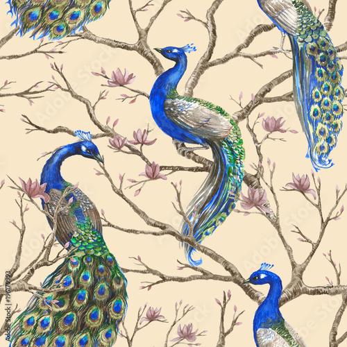 recznie-rysowane-akwarela-bezszwowe-wzor-z-dzikich-pawi-i-magnolii-kwiatowy-oddzialow-styl-chinoserie