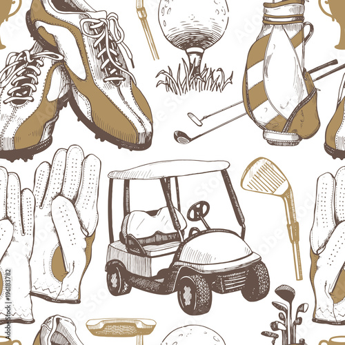seamless-golf-pattern-with-basket-shoes-car-putter-ball-gloves-bag-vector-set-of-hand-drawn-sports-equipment-illustration-in-sketch-style-on-white-background