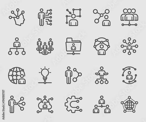 Fotografia Human network line icon