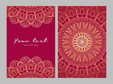 Greeting Card Golden Ethnic Pa...