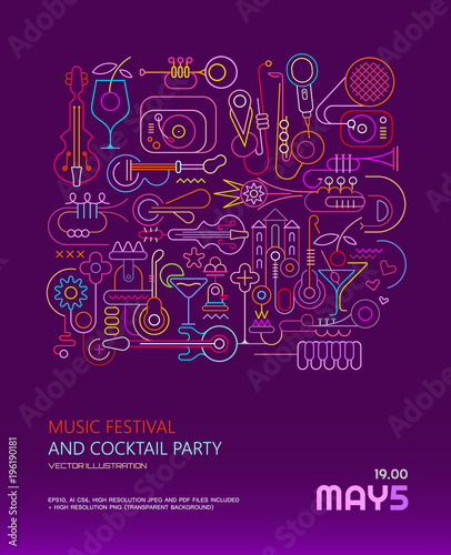 Aluminium Prints Abstract Art Music Festival and Cocktail Party poster
