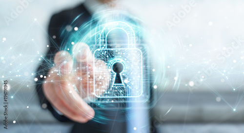 Photographie Businessman using digital padlock with data protection 3D rendering