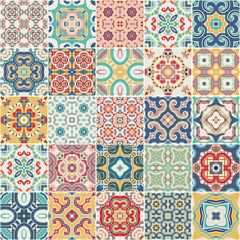 ozdobne portugalskie płytki dekoracyjne azulejos. Wektor.