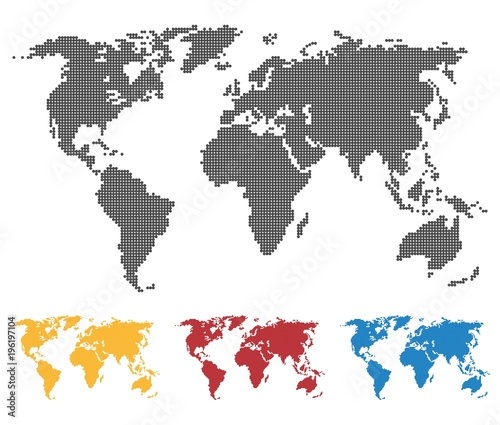 World map black yellow red blue color saddle or pixel structure world map black yellow red blue color saddle or pixel structure globe icon gumiabroncs Image collections