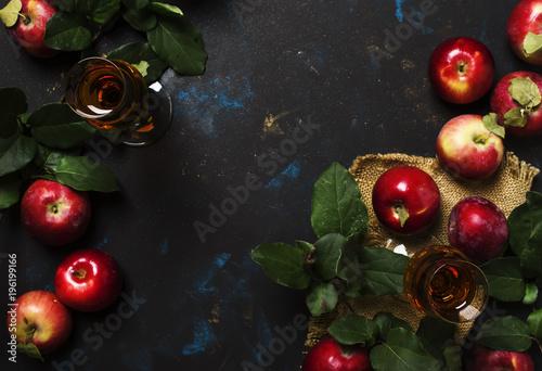 French apple brandy, dark background, top view