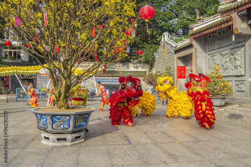 SAIGON, VIETNAM - FEB 15, 2018 - Dragon and lion dance show in chinese new year festival.