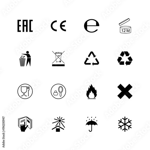 Cuadros en Lienzo Set of packaging symbols and marks. Vector
