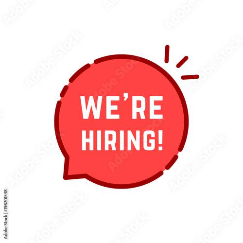 Fotografía  red cartoon linear we are hiring logo