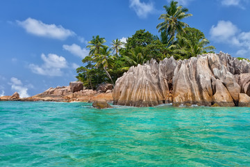 Beautiful tropical St. Pierre Island with palms and granite rocks, Seychelles