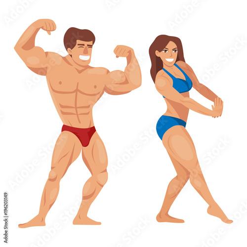 Fotografie, Obraz  Bodybuilders characters muscular bearded man illustration set fitness models posing bodybuilding vector illustration