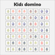 Domino game with pictures (easter eggs) for children, fun education game for kids, preschool activity, task for the development of thinking, vector illustration