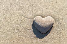 Heart Made Of Sand With Shadow...