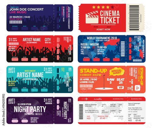 concert cinema airline and football ticket templates collection