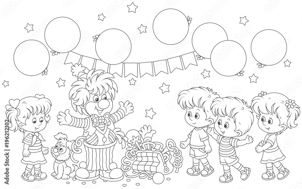 Fototapeta Friendly smiling circus clown with his pup, toys and balloons playing with small children, a black and white vector illustration in a cartoon style for a coloring book