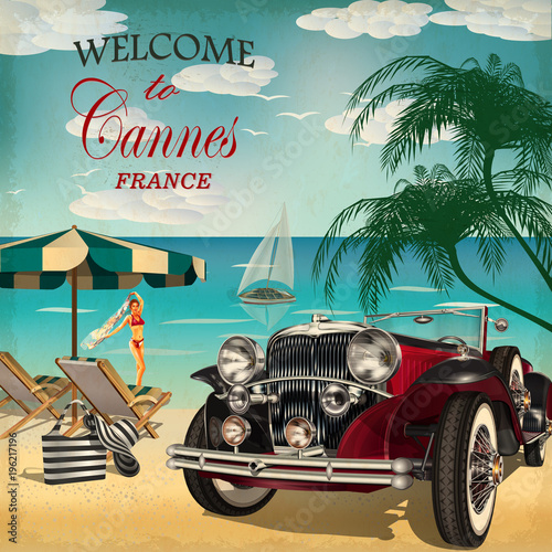 Obraz na plátně Welcome to Cannes retro poster.