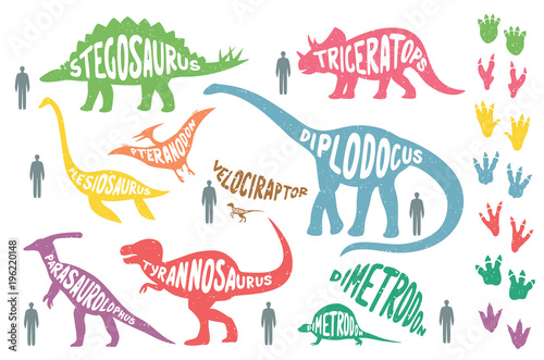 Obraz na plátně  Set of colorful dinosaurs with lettering and footprints, isolated on wite background