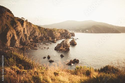 Big coastal rocks at seaside