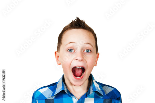 close up portrait of a little boy screaming out loud isolated over