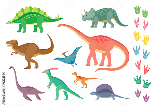 Obraz na plátně Set of colorful dinosaurs and footprints, isolated on wite background