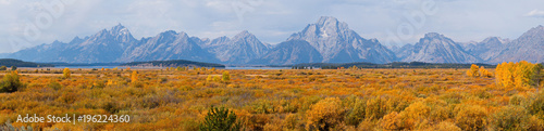 Autocollant pour porte Brique View of Grand Teton and Mount Moran in Wyoming in the USA