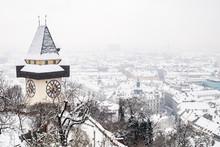 Snowy Uhrturm Clocktower Landm...