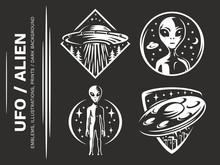UFO / Aliens Emblem, Vector Il...