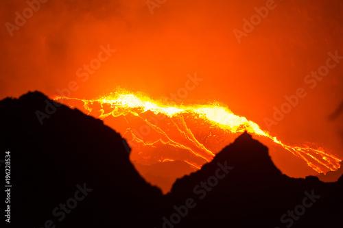 Staande foto Rood Erta Ale volcano Danakil depression Ethiopia
