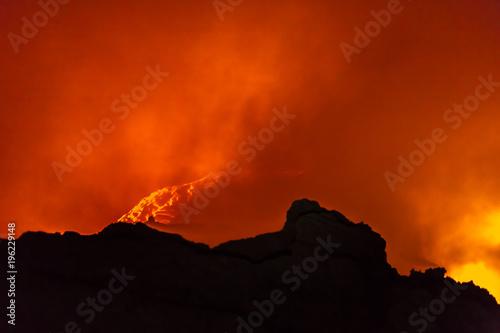In de dag Rood traf. Erta Ale volcano Danakil depression Ethiopia