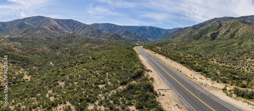 Fotografia, Obraz  Panorama drone photograph of Mojave desert wilderness in the foothills of the San Gabriel Mountains