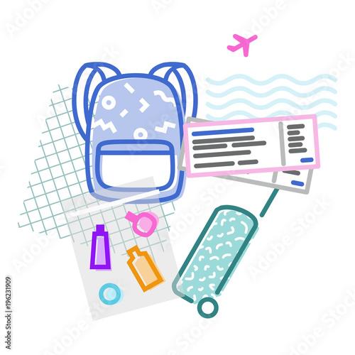 Fotografie, Obraz  Airplane travel luggage memphis poster